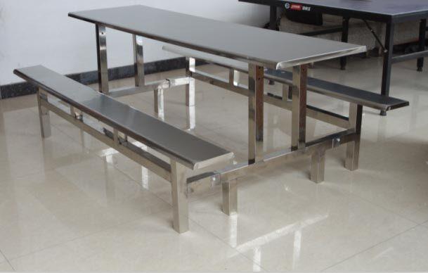(成功的大门不是靠别人而是靠自己的努力走进去的)河北邯郸涉县客户定做六人连体餐桌椅 不锈钢条凳餐桌椅 1600*600mm板凳餐桌椅 条凳餐桌椅的价格 
