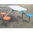 不锈钢四人座圆凳餐桌椅