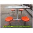 4人圆凳连体餐桌椅