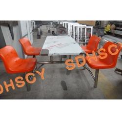 吹塑靠背不锈钢支架食堂餐桌椅