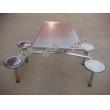 不锈钢座四人连体餐桌椅