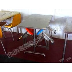 不锈钢四人连体折叠椅