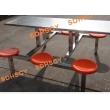 六人不锈钢支架圆凳食堂餐桌椅