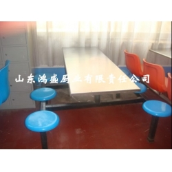 不锈钢四人圆凳餐桌椅