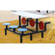 六人不锈钢铁支架折叠食堂餐桌椅