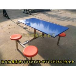 豪华四人防火板餐桌椅 四人圆凳防火板桌面餐桌椅 连体式食堂餐桌椅定做厂家