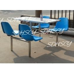 不锈钢圆管四人座靠背玻璃钢食堂餐桌